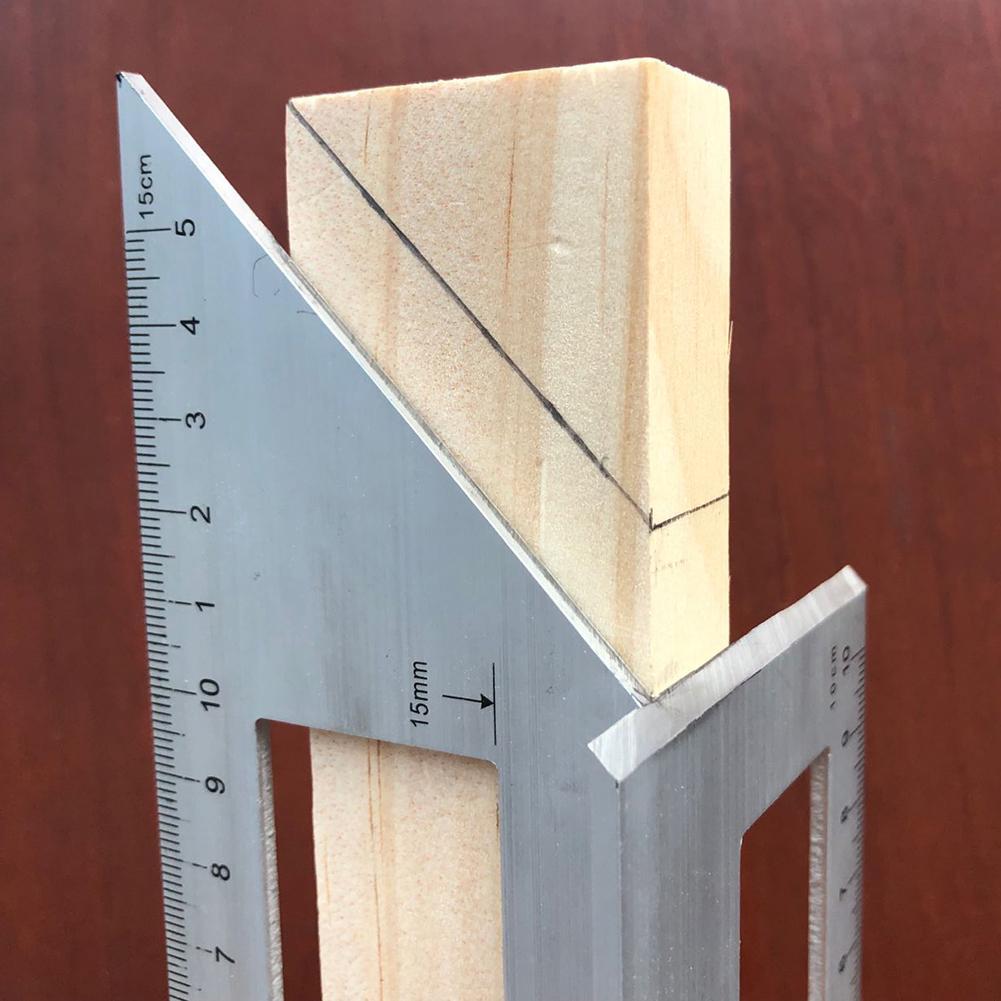 Regla de ángulo de calibre de 45/90 grados, Cuadrado multifuncional, herramienta de medición de pulido fino de aleación de aluminio, precisión de 1mm