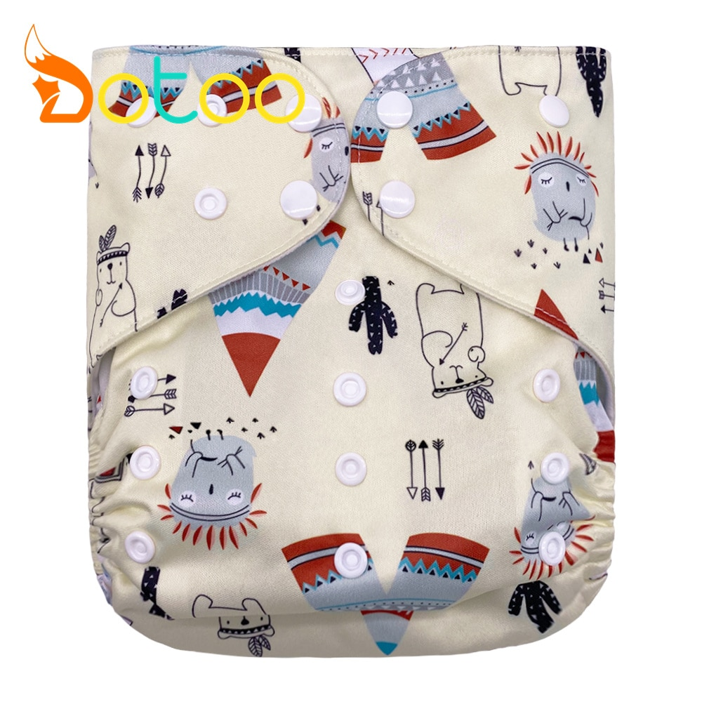 Dotoo Tribal Print Washable Adjustable 8-25KG Cloth Diaper Double Gusset Cloth Nappy For Baby Diaper