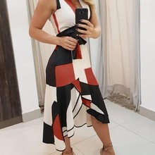 Sexy Summer V Neck Empire Belt Tunic Women's Midi Dress 2021 Fashion Geometry Print Irregular Office
