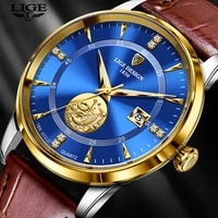 new watch men ultra thin dial 7mm waterproof clock lige design casual leather mens watches top brand luxury quartz watch for men
