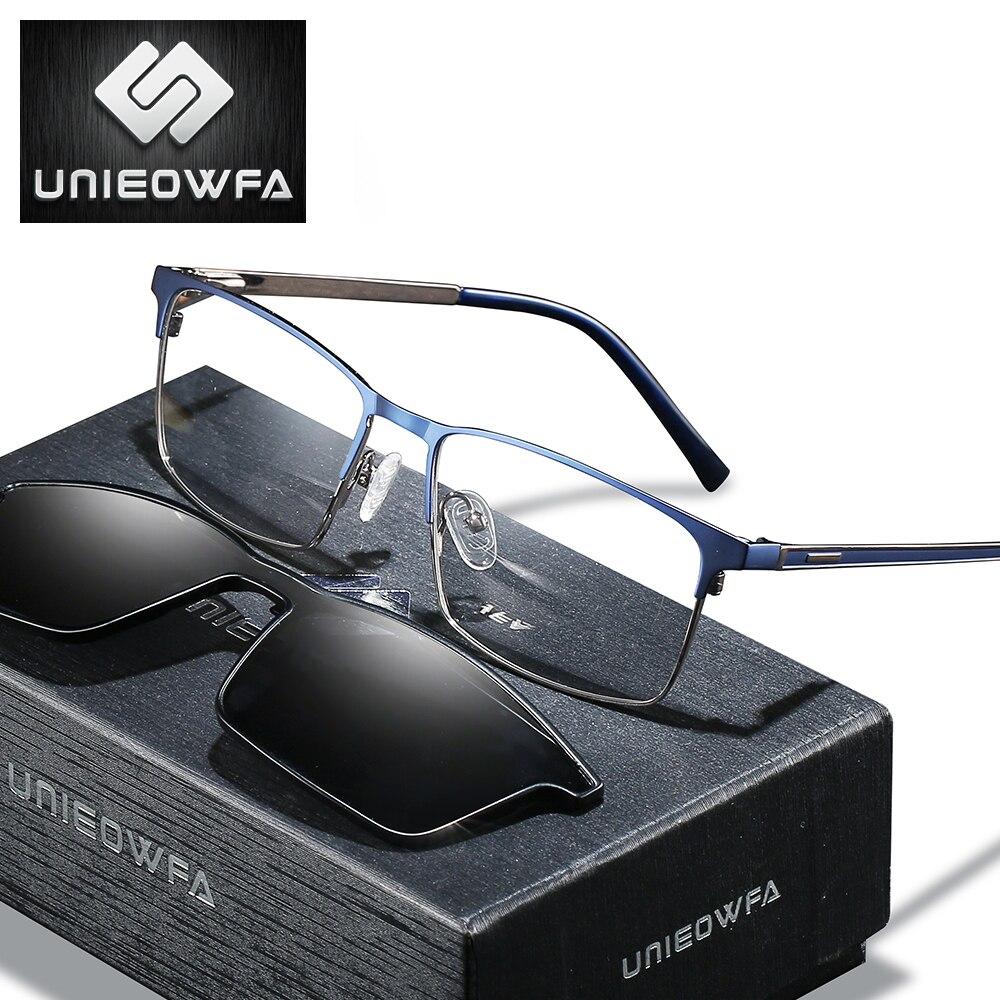 نظارات شمسية مستقطبة بمشبك مغناطيسي ، نظارات طبية للرجال ، قصر النظر ، نظارات ثنائية البؤرة مع مشبك مغناطيسي ، مضادة للضوء الأزرق ، 1.74