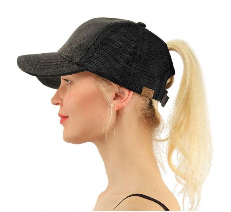 YLWHJJ, superventas, gorra de malla para mujer, gorra de béisbol con cola de caballo de lentejuelas abierta trasera, gorra salvaje de moda