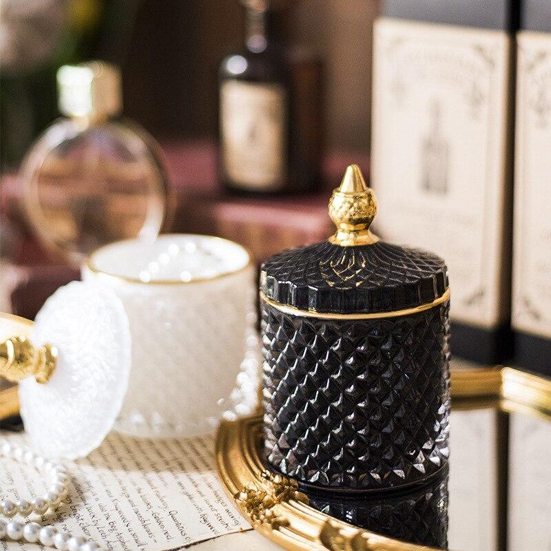 الزجاج تخزين خزان النمط الأوروبي الحلوى مجوهرات صندوق تخزين المنظم تخزين الحاويات متعدد الألوان الزجاج جرة ديكور المنزل زجاجة
