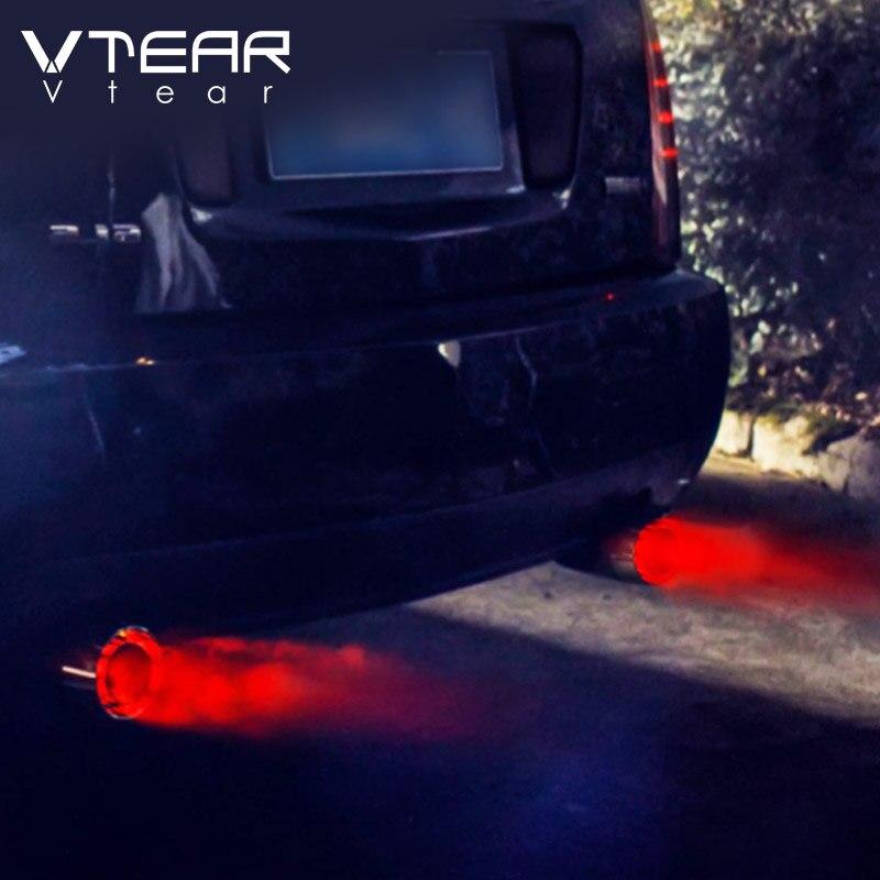 Vtear tubo Universal silenciador de escape de coche punta/tubo de acero inoxidable LED rojo/azul luz Modificación de coche accesorios de garganta trasera