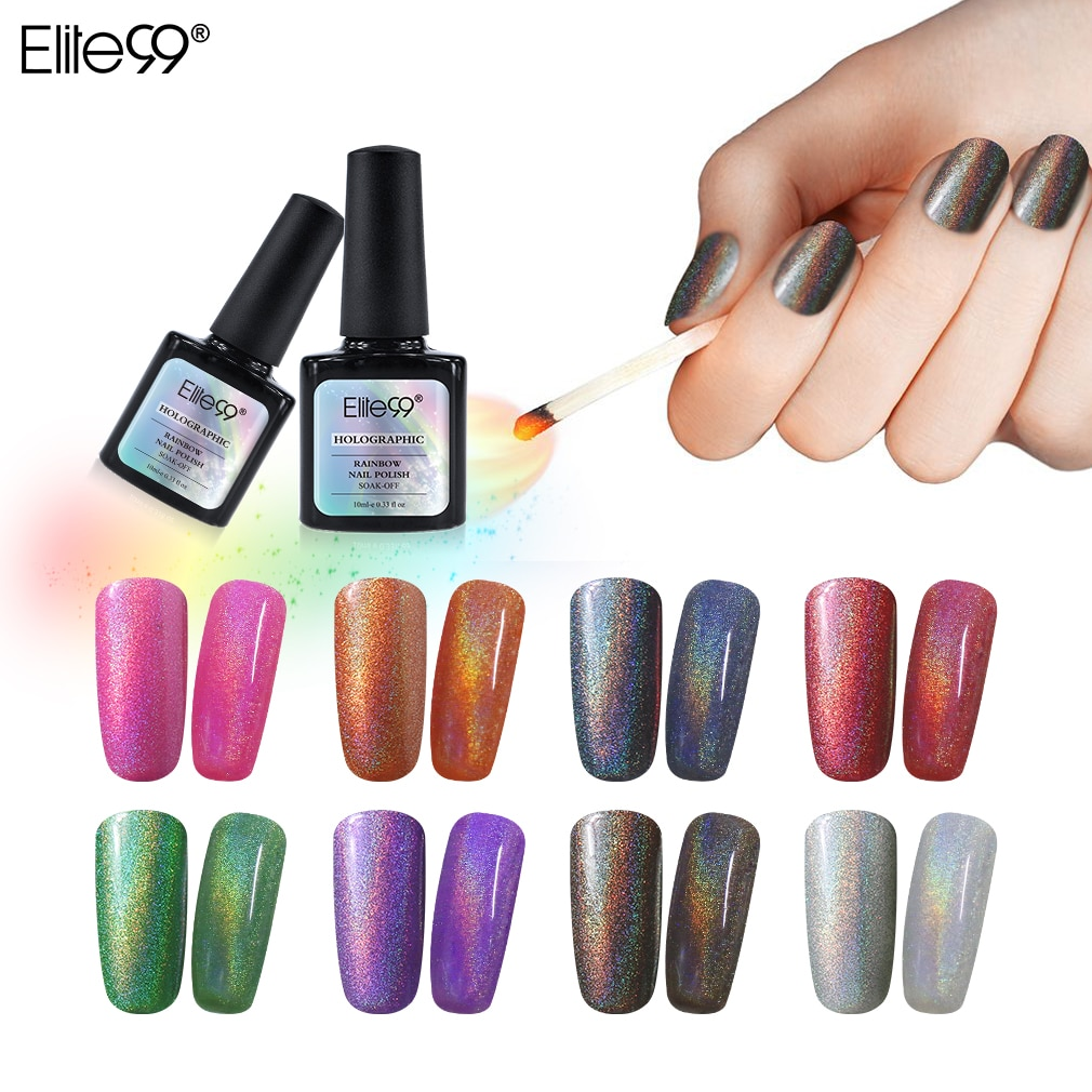 Elite99 10ml Rainbow Color Nail Lacquer Dry Naturally Colorful Shinny Nails Manicure Polish Shimmer Nail Art Polish Varnish