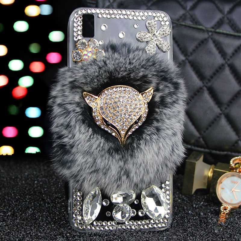 Jewelled Real Fur Case For Huawei P20 Lite Pro P20 Plus P10 Lite P10 plus P30 P30 pro Lite For Nova
