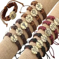 jewelry bracelet 12pcslot newest 12 zodiac signs leather bracelet constellations charm adjustable bracelet bangle cuff