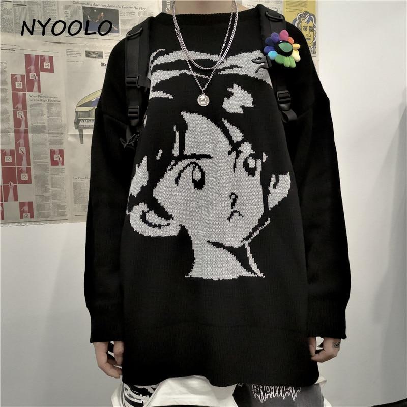 NYOOLO Harajuku stil vintage Streetwear gestrickte pullover Herbst winter lose verdicken warme hip hop pullover pullover frauen männer top