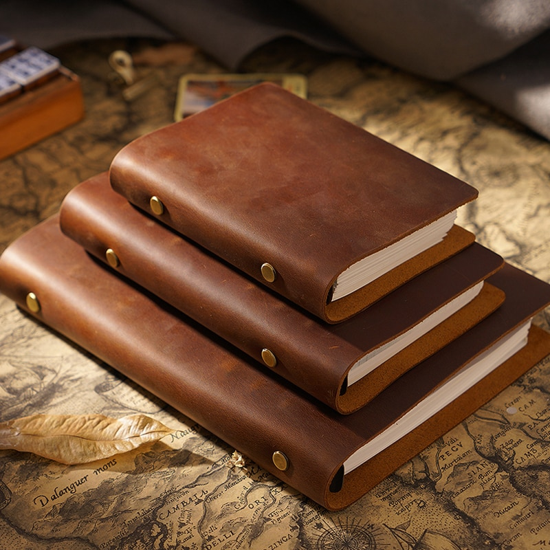Retro Real Cow Leather Cover Notebook 48 Papers Small Medium Big Size Note Book DIY Diary Handmade Notepad Office School Gift