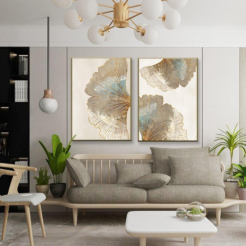 Абстрактная текстура золотых листьев, холст, живопись, домашний декор, цветок, настенный плакат, печать картины, декор гостиной