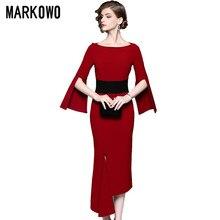 MARKOWO concepteur marque 2020 nouvelle taille irrégulière mince tempérament rouge jupe longue femmes robe de Banquet
