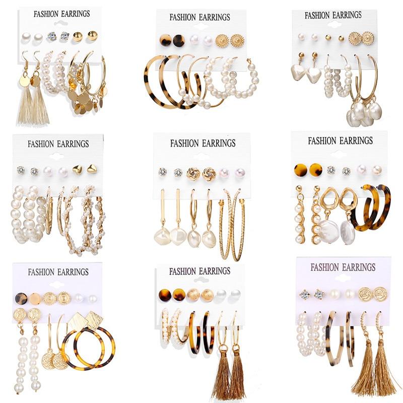 VAGZEB Vintage Big Gold Circle Hoop Earrings For Women Clip on Earrings Eye Pearl Heart Earring Set  Brincos Statement Jewelry
