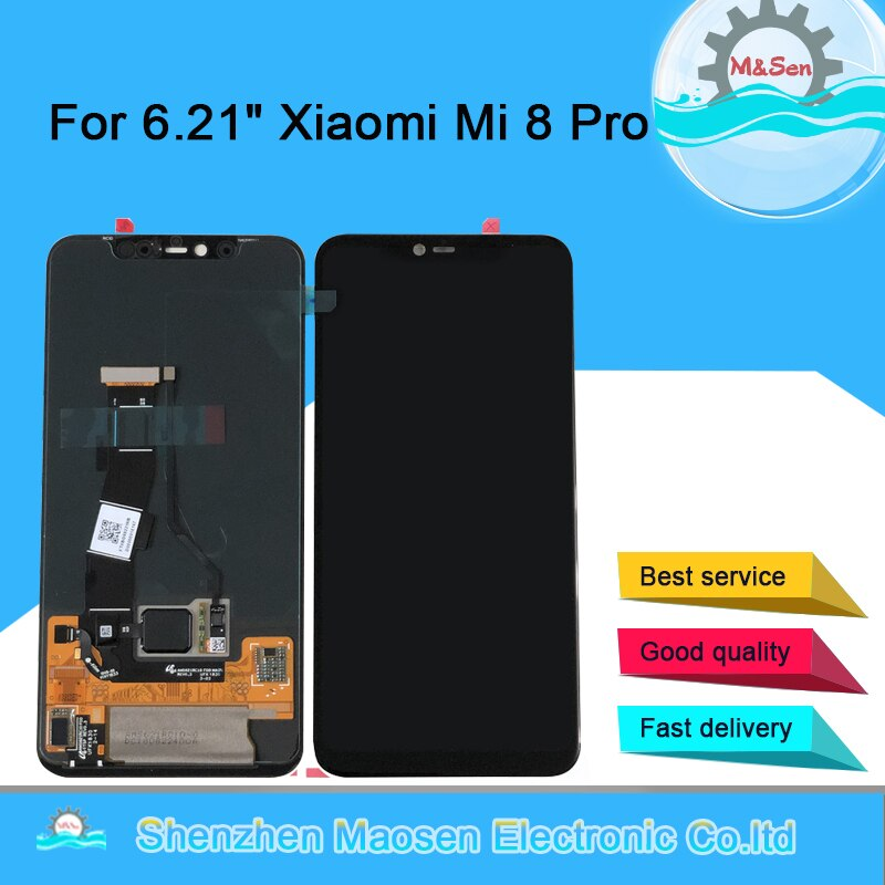 "Pantalla de 6,21 ""M & Sen para Xiaomi Mi8 Pro Mi 8 Pro en-pantalla, versión de huella digital, pantalla LCD Amoled + digitalizador de Panel táctil"