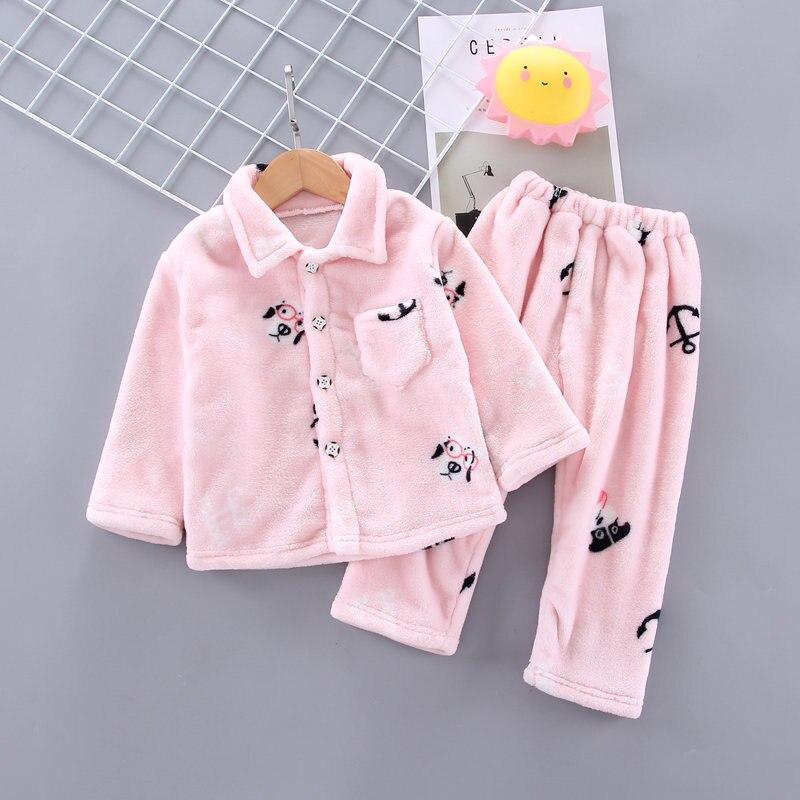 Winter Flanell Kinder Pyjamas Sets Kind Warme Nachtwäsche Cartoon Druck Baby Mädchen Jungen Nachtwäsche Kinder Pyjamas Korallen Samt Sets