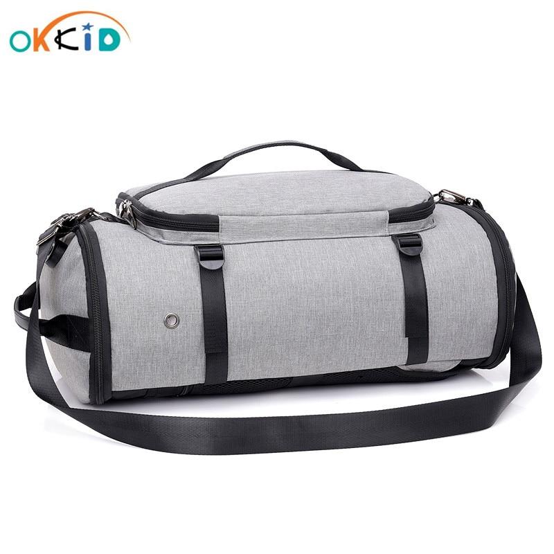 OKKID male multifunctional large capacity handbag men luggage travel bags big size men's shoulder bag crossbody bags for men