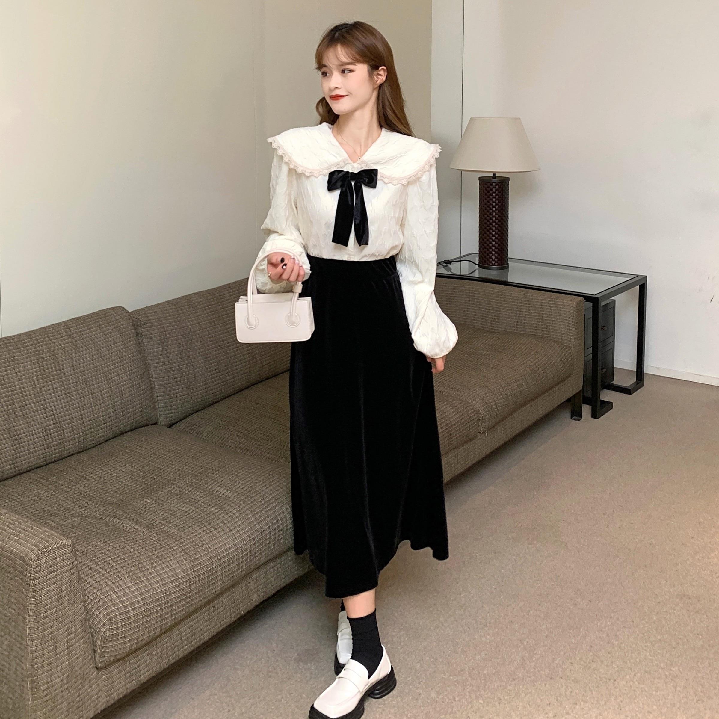New 2021 Autumn Women France Two Piece Set Peter Pan Collar Bow Long Sleeve Shirt+Black Velvet Elastic waist Skirt Suit Female