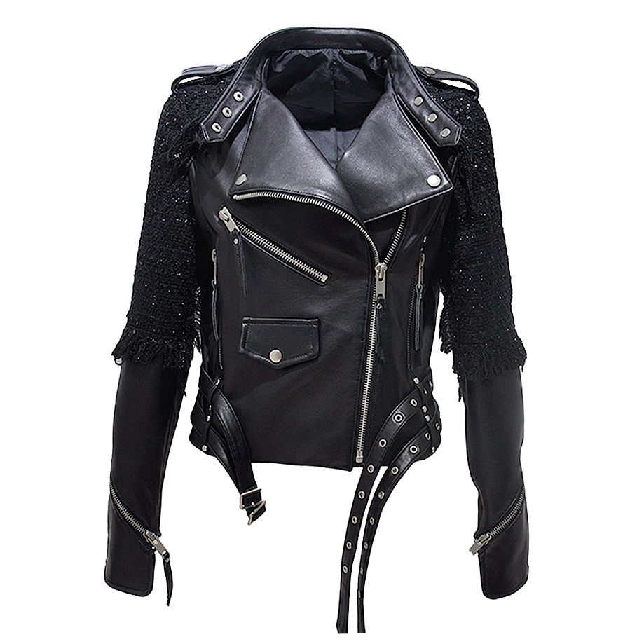 Women Autumn Zipper Casual Real Leather Jacket Soft Solid Motorcycle Sheepskin Jacket Fashion Street
