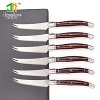Jaswehome 6pcs laguiole סכין סטייק סט מלא טאנג שולחן סכין משונן סכין סטייק laguiole סכיני מטבח סכין אביזרים