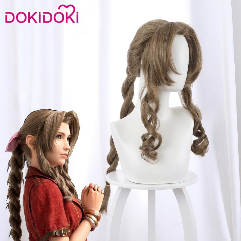 DokiDoki Game FFVII Aerith Cosplay Wig Women Blonde Hair Final Fantasy VII Cosplay Wig Aerith Gainsborough Wigs