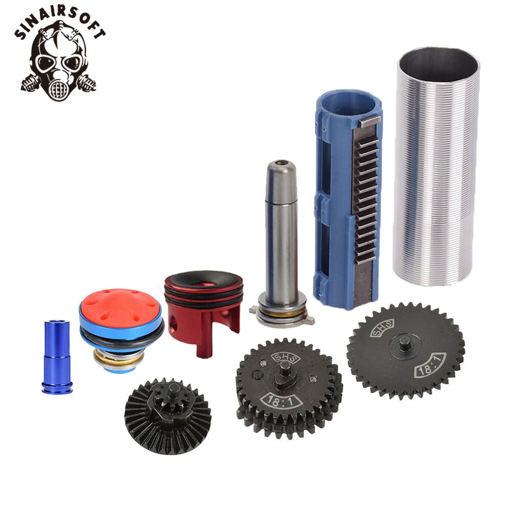 SINAIRSOFT 18:1 Gear Nozzle Cylinder Spring Guide 14 Teeth Piston Kit Fit Airsoft MP5 AK M4 M16 G36 Paintball Hunting Target