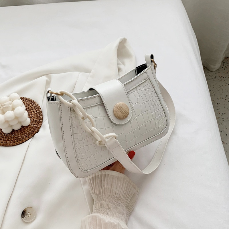 2021 New Fashion Summer French Underarm Bag Popular Texture White Women's Shoulder Bag Crocodile Pattern Women's Bags Small Bag