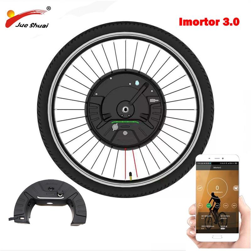 IMortor 3 محرك كهربائي تحويل عدة 36 فولت 350 واط موتور تيار مباشر عجلة App مجموعة تحويل الدراجة العاديّة إلى كهربائيّة مع بطارية ليثيوم 7.2Ah