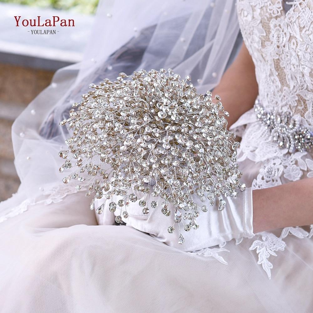 YouLaPan HF02 Bling Bridal Holding Flowers Crystal  Rhinestones Wedding Accessories Flower with Diamond