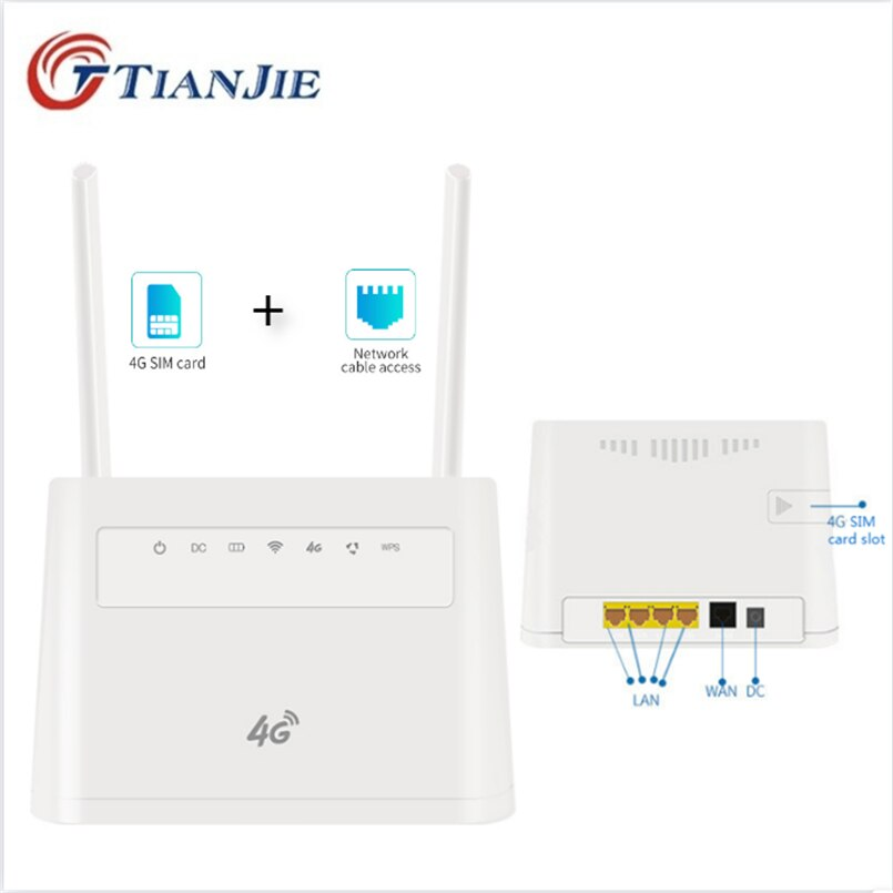 TIANJIE Indoor/Outdoor 4G Wireless WiFi Modem Dongle Unlocked SIM Card Router Modem 3G/4G CAT4 CPE Router With External Antennas