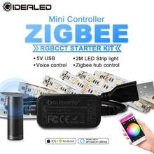 Smart tv ZigBee led rgbcct mini contrôleur bande lumière 5V Usb contrôleur par Alexa Echo plus commande vocale zigbee hub smartthings