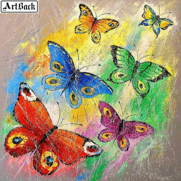 Colorido mariposa diamante pintura completo cuadrado hermosa pegatina 3d diamante mosaico paisaje 30x30cm