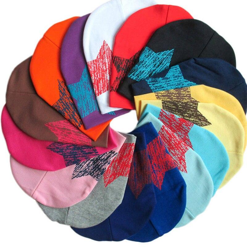Sombrero para niños, pentagrama, cuello alto, sombrero para bebés tipo gorro hecho de tejido de punto de algodón puro, circunferencia de la cabeza, 38 cm5pcs/lot
