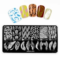 1pcs 612cm nail art stamping plate animal flower letter feather geometry template printing stainless steel tools image stencil