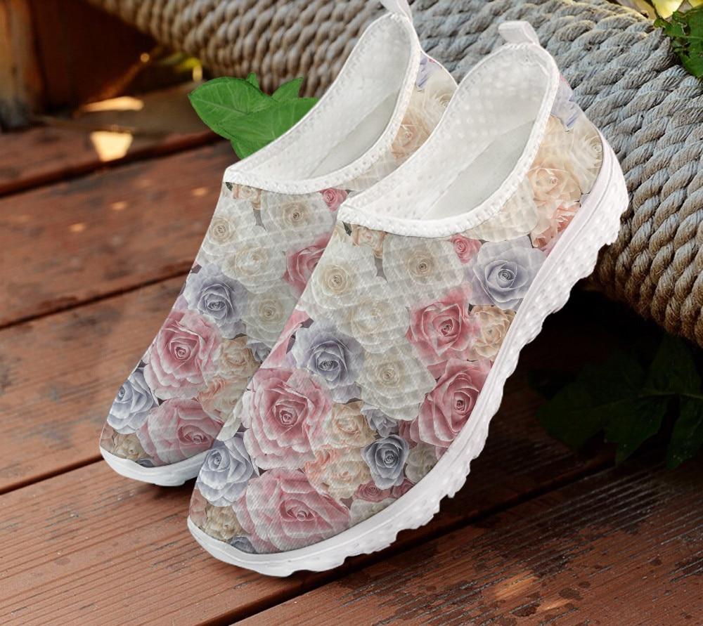 INSTANTARTS Pretty Rose estampado Floral mujeres Casual zapato plano de malla transpirable...