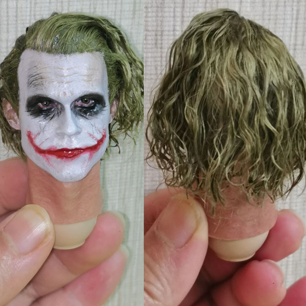 High Quality MI12 1/6 Scale Male Figure Accessory With Real Hair Wig Head Sculpt joker Robber Edition Head Model for 12'' Body