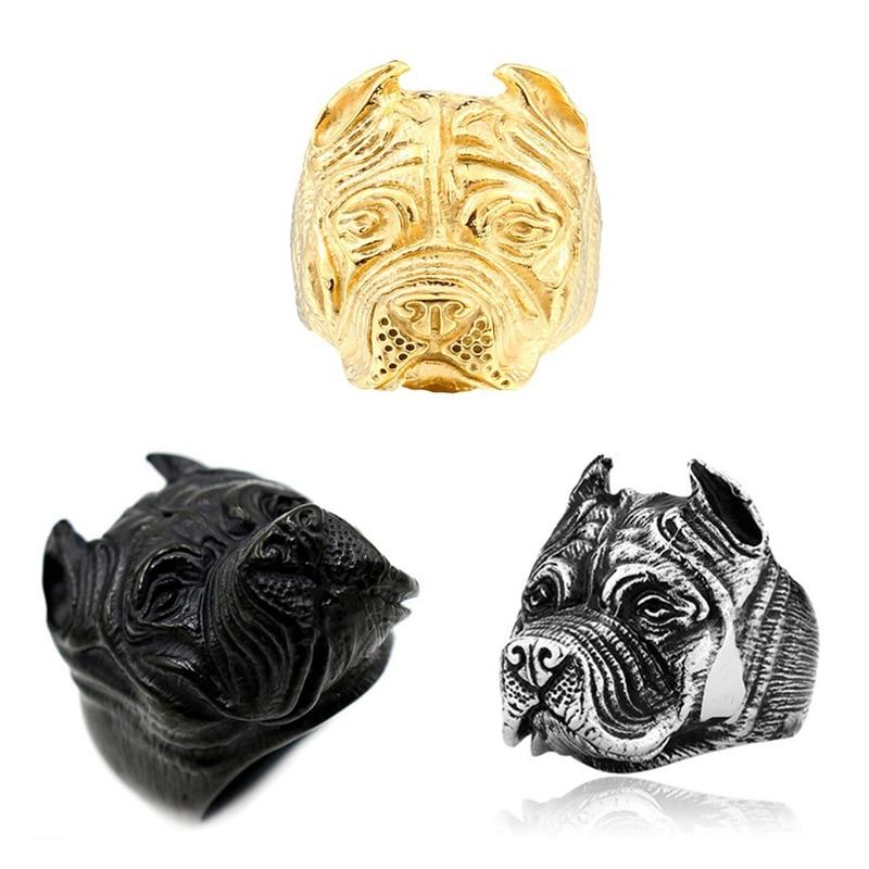 Anillo gótico Punk Pitbull Bulldog para hombres, personalidad Punk, anillos de Bulldog inglés, joyas anillos de animales ferociosas Retro, regalo