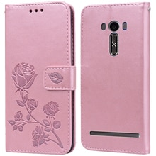 Luxury Leather Flip Book Case for Asus Zenfone 2 Laser ZE550KL ZE551KL Z00LD Rose Flower Wallet Stan