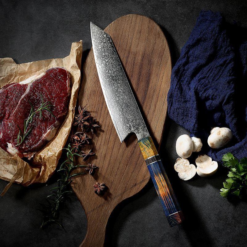 Damasco-cuchillos de cocina con mango de madera, cuchillo de cocina profesional, rebanador,...