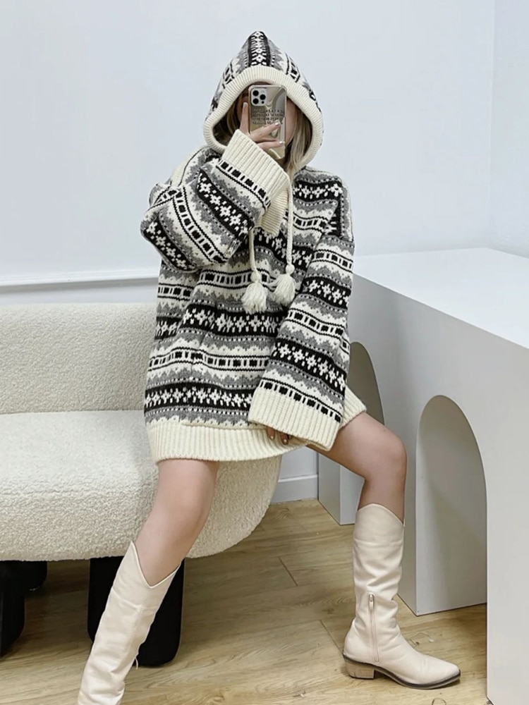 Womens Loose Fit Pullovers Sweater Long-Sleeve vintage Floral Print Drawstring Hooded Pullovers Tops enlarge