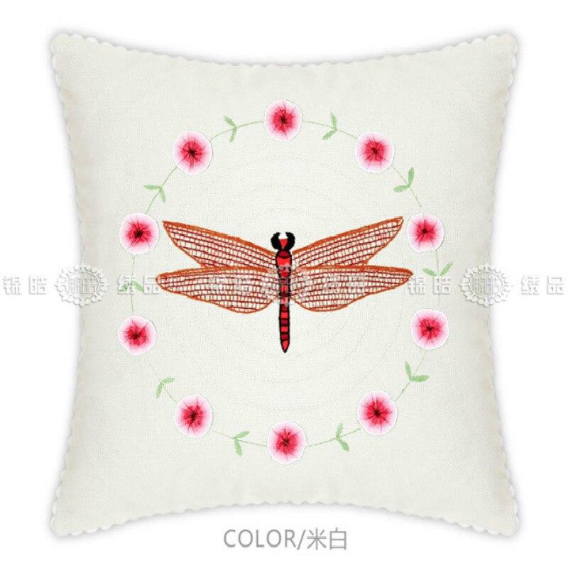 Kit de punto de cruz de dibujos animados con diseño de libélulas para enviar a su hija, novia, regalo de cumpleaños, regalo de fiesta, almohada de Bordado hecho a mano