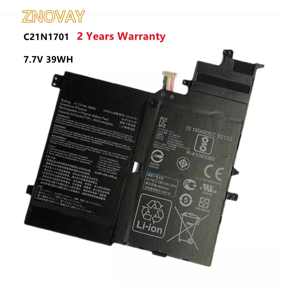 ZNOVAY C21N1701 Battery For ASUS VivoBook K406UA S460UA S460U S406UA-BM360T S406UA-BM146T S406UA-BM148T C21PQC5 7.7V 39WH
