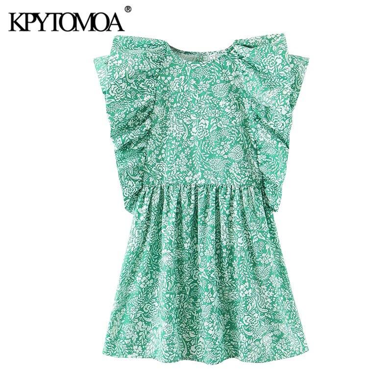 KPYTOMOA Women 2020 Chic Fashion Floral Print Ruffled Mini Dress Vintage O Neck Short Sleeve Female Dresses Vestidos Mujer