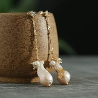green purple fresh water baroque pearl tassel long drop earrings for women engagement vintage handmade charm fashion jewellery