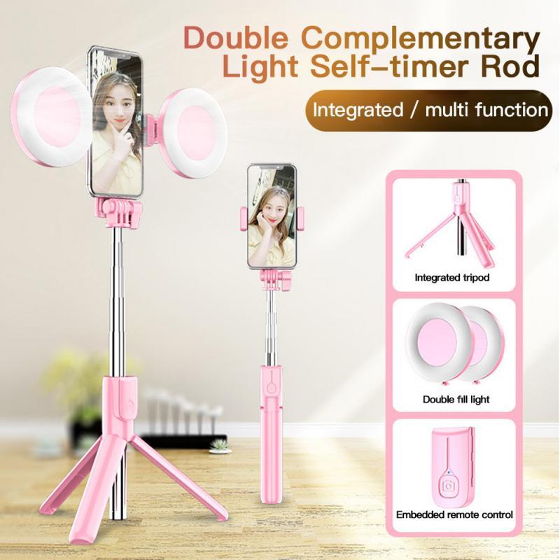 4-in-1 Wireless Bluetooth Selfie Stick + LED Ring Fill Light 360° Rotation Adjustable Monopod Tripod Desktop Stand Holder