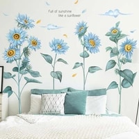 3d blue sunflower wall stickers for bedroom removable living room plant wall decals home decoration