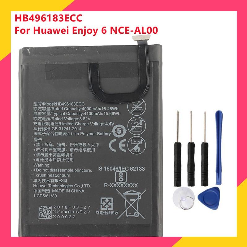 Оригинальный запасной аккумулятор для телефона HB496183ECC для Huawei Enjoy 6 NCE-AL00, аккумуляторные батареи 4100 мАч с бесплатными инструментами