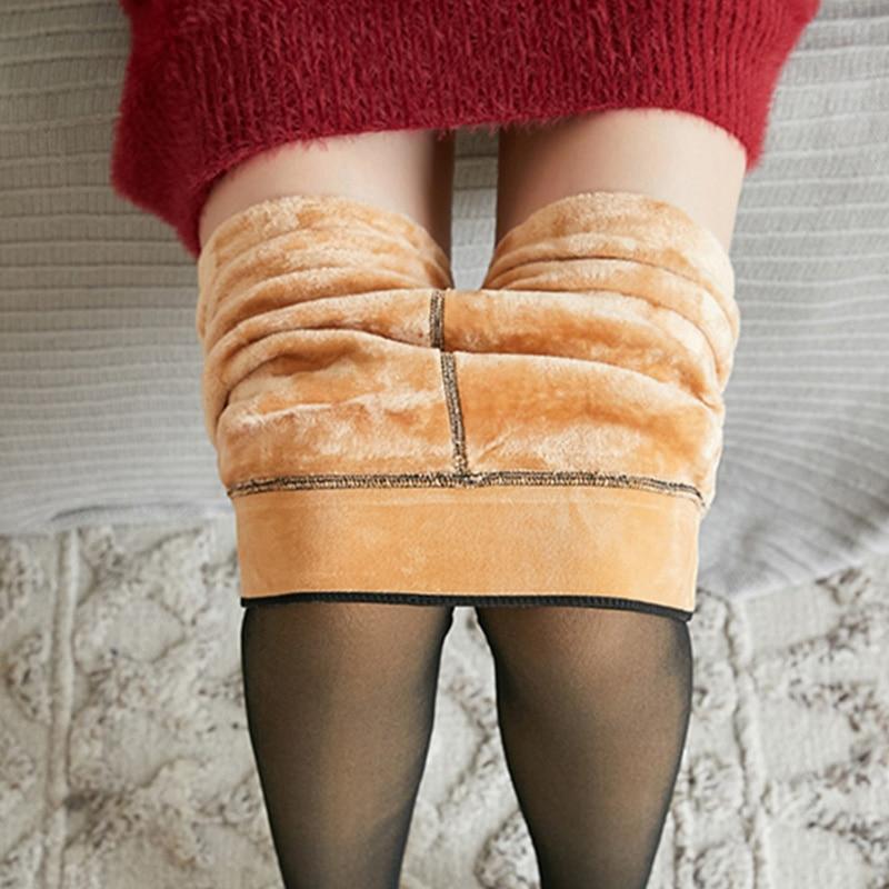 NORMOV الشتاء الدافئة جوارب النساء سوبر مطاطا الأسود سليم جوارب طويلة للنساء موضة عادية زائد المخملية سميكة الجوارب