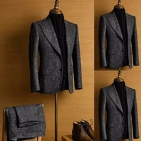 newest handsome winter men suits tweed notch lapel dark gray regular 2 piece wool two button blend vintage tailored slim fit