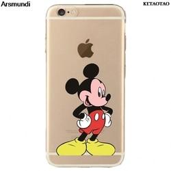 Ketaotao silicone caso para mickey mouse telefone casos para iphone 4S 5c 5S 6 s 7 8 se plus x caso de cristal claro macio tpu capa casos