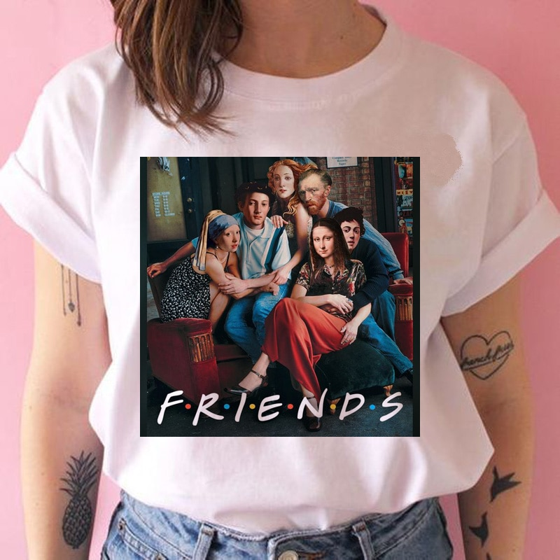 Freund mona lisa van gogh t hemd frauen kunst 90s lustige grunge t-shirt harajuku weibliche ulzzang katze t-shirt top t kleidung hip hop