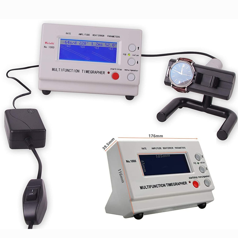 No.1000 Mechanical Watch Accuracy Tester Tool With LCD Screen Automatic Detector Watch Timing Machine Multifunction Timegrapher